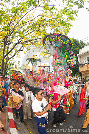Parades of Poy-Sang-Long Festival in Northern of Thailand. Editorial Stock Image