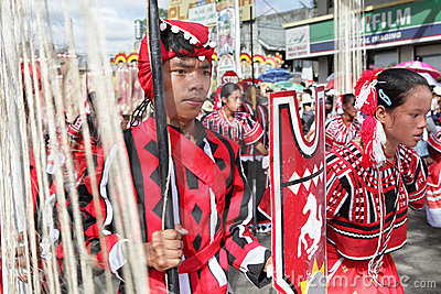 Parading tribal dancers Philippines Editorial Photo