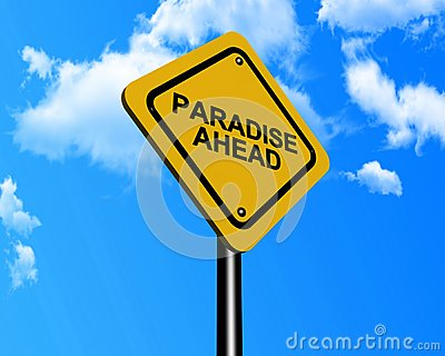 Paradise ahead sign