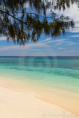 Paradise beach and sea on island, Gili Islands
