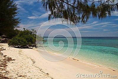 Paradise beach and sea on island, Gili Islands