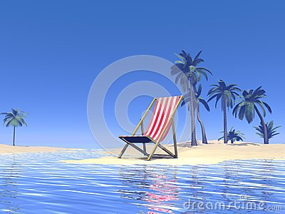 Paradise chair waiting for you - 3D render