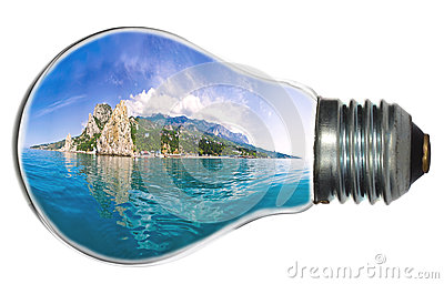 Paradise island in light bulb