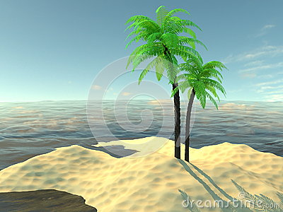 Paradise island with palm trees and sand