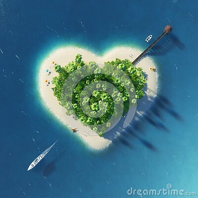 Paradise tropical island in the form of pierced heart. Holidays, travel, relax, eco, nature concept Cartoon Illustration