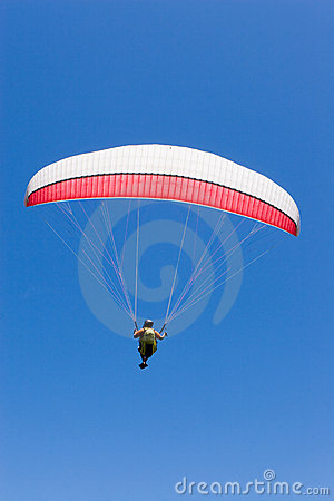 Free Paraglider Flies Into The Blue Stock Photos - 3387303