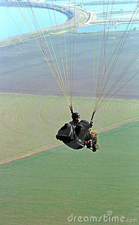 Paraglider flying