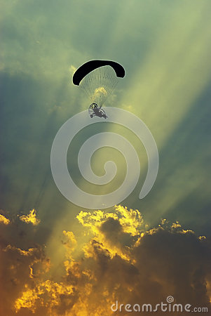 Free Paraglider In The Sunset Stock Images - 44432974
