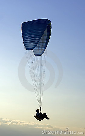 Paraglider in mid-air