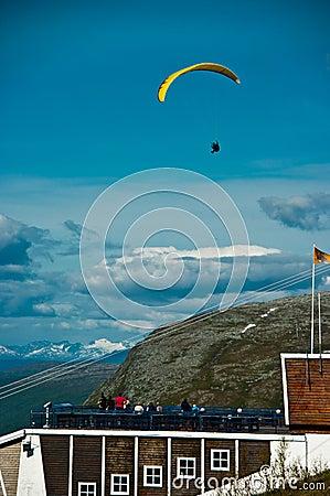 Paraglider in midair
