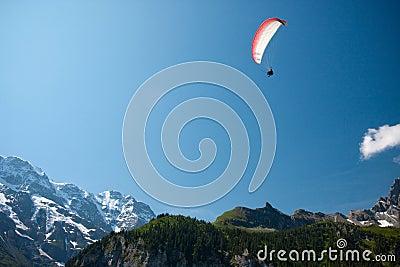 Paraglider in Swiss Alps