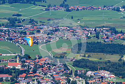 Paraglider takes off Pfonten in Bavaria Germany.