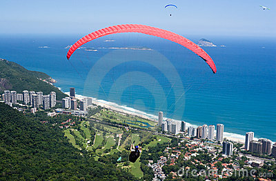 Paragliders by the sea. Rio de Janeiro.