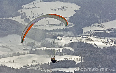 Winter paragliding one of active extreme sports