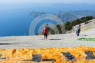 Paragliding Redaktionell Foto
