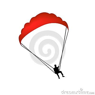 Paragliding man vector silhouette