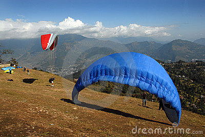 Paragliding in Nepal Editorial Photo