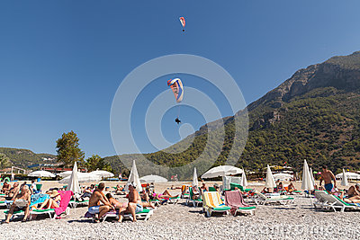 Paragliding  in Oludeniz Editorial Stock Photo