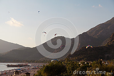 Paragliding in Oludeniz, Turkey Editorial Stock Image