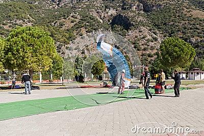 Paragliding in Oludeniz, Turkey Editorial Photography