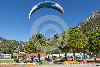Paragliding in Oludeniz, Turkey Editorial Photo