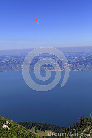 Paragliding over The Leman lake, Evian, France