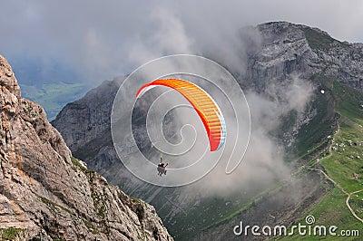 Paragliding in Swiss alps near Lucern, Switzerland
