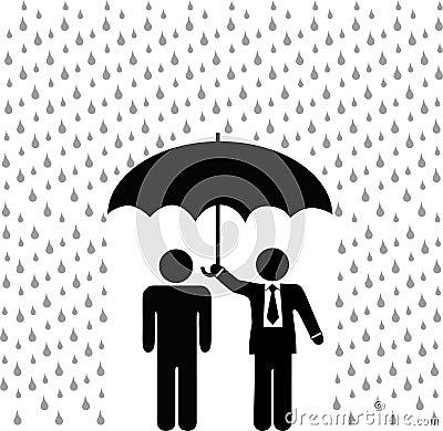 Paraguas del agente de seguro sobre persona de asegurados