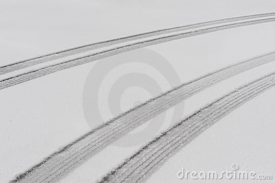 Parallel tire tracks in the snow