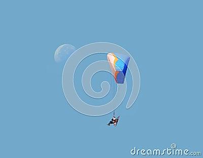 Paramotor glider and moon