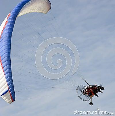 Paramotor glider in the sky