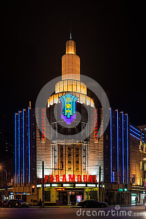 Paramount movie theater at night shanghai china Editorial Image