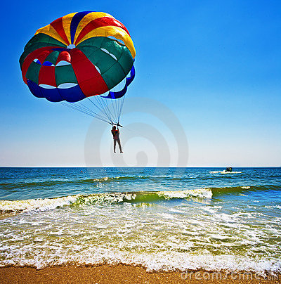 Parasailer over ocean