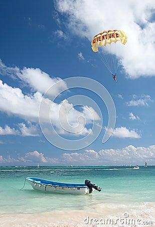 Parasailing above ocean