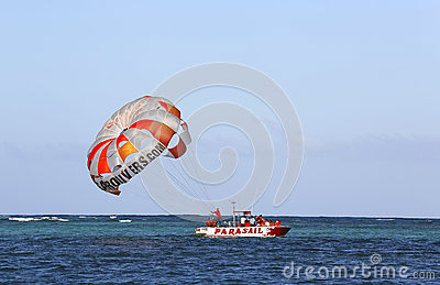 Parasailing in a blue sky in Punta Cana, Dominican Republic Editorial Image