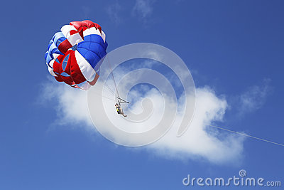 Parasailing in a blue sky in Punta Cana, Dominican Republic Editorial Stock Image