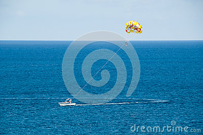 Parasailing in the Ocean