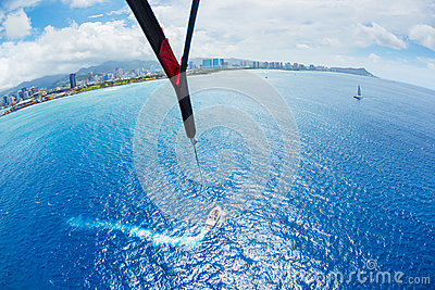Parasailing Over Ocean in Hawaii