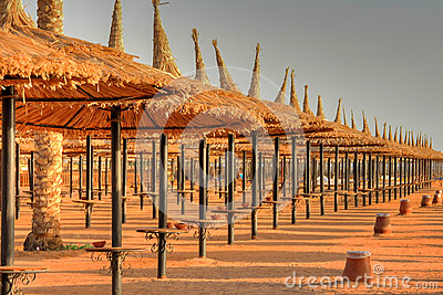 Parasols on the beach of Sharm el Sheikh
