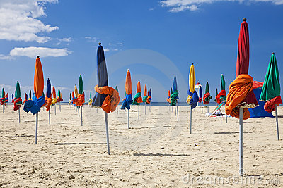 Parasols,Deauville Beach, Normandy France, Europe