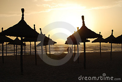Parasols of Mallorca in sunset
