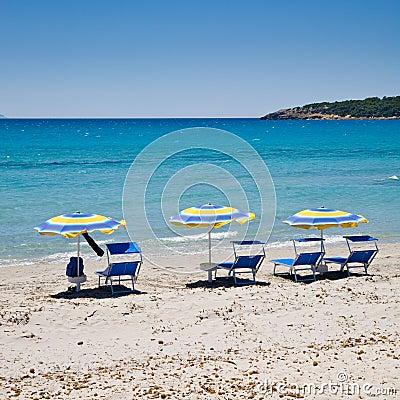 Free Parasols On Beach, Sardinia Stock Photo - 14712460