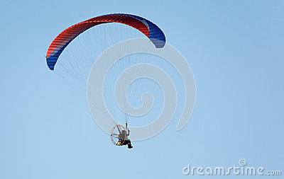 Paratrooper flying in the sky