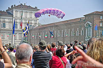 Paratroopers show in the Turin s sky Editorial Stock Image