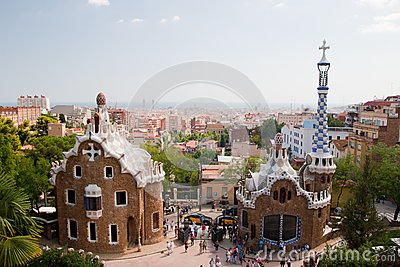 Parc Guell and Barcelona Aerial View Editorial Photography