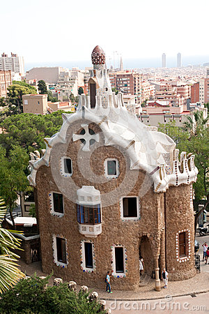 Parc Guell and Barcelona Aerial View Editorial Photo