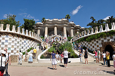 Parc Guell in Barcelona Spain Editorial Photography