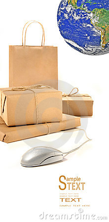 Parcel packages with computer mouse on white