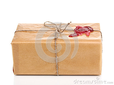 Parcel with sealing wax