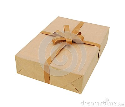 Parcel wrapped in brown packing paper